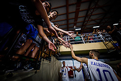 Kalogiros  Andreas of Greece celebrates with fans after the basketball match between National teams of Greece and Slovenia in the Group Phase C of FIBA U18 European Championship 2019, on July 29, 2019 in  Nea Ionia Hall, Volos, Greece. Photo by Vid Ponikvar / Sportida