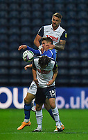 Preston North End's Patrick Bauer and Joe Rafferty battle with Brighton & Hove Albion's Viktor Gyokeres<br /> <br /> Photographer Dave Howarth/CameraSport<br /> <br /> The Carabao Cup Third Round - Preston North End v Brighton and Hove Albion - Wednesday 23rd September 2020 - Deepdale - Preston<br />  <br /> World Copyright © 2020 CameraSport. All rights reserved. 43 Linden Ave. Countesthorpe. Leicester. England. LE8 5PG - Tel: +44 (0) 116 277 4147 - admin@camerasport.com - www.camerasport.com