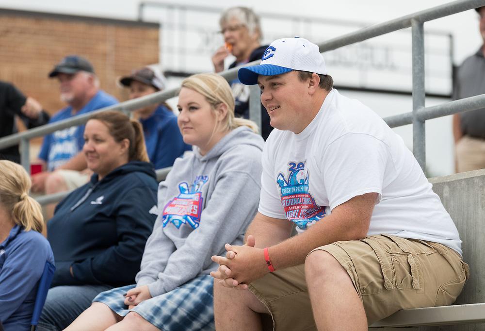 Grayson's parents Garrett and Brandi watch Post 1 Omaha, Nebraska, play Post 307 Renner, South Dakota, in a legion baseball game at Creighton Prep on Wednesday, June 20, 2018, in Omaha, Nebraska.