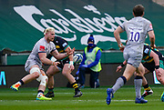 Sale Sharks flanker Jean-Luc Du Preez  passes the ball during a Gallagher Premiership Round 13 Rugby Union match, Saturday, Mar. 12, 2021, in Northampton, United Kingdom. (Steve Flynn/Image of Sport)