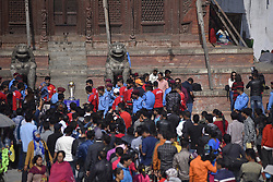 October 29, 2018 - Kathmandu, NP, Nepal - Nepalese people lining to see the 2019 ICC Cricket World Cup trophy in Basantapur Durbar Square during a country tour in Kathmandu, Nepal on Monday, October 29, 2018. The 2019 Cricket World Cup is to be hosted by England and Wales from 30 May to 14 July 2019. (Credit Image: © Narayan Maharjan/NurPhoto via ZUMA Press)