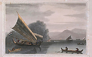 MALAY PROAS AND CANOES the entrance to the straits of Sunda presents a noble sweep of mountains, which rise in a magnificent arch from the bosom of the ocean. colour print from the book ' A Picturesque Voyage to India by Way of China  ' by Thomas Daniell, R.A. and William Daniell, A.R.A. London : Printed for Longman, Hurst, Rees, and Orme, and William Daniell by Thomas Davison, 1810. The Daniells' original watercolors for the scenes depicted herein are now at the Yale Center for British Art, Department of Rare Books and Manuscripts,