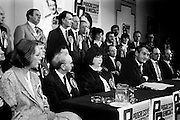 In advance of the general election, the Progressive Democrats party launches its election manifesto. Party leader Des O'Malley is surrounded by election candidates at the press conference in the Burlington Hotel, Dublin.<br />