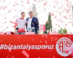 August 22, 2017 - Antalya, Türkiye - Antalyaspor's new French midfielder Samir Nasri (L) and Antalyaspor's chairman Ali Safak Ozturk (R) pose for a photo during Nasri's signing ceremony in Antalya, on August 22, 2017. (Credit Image: © Depo Photos via ZUMA Wire)