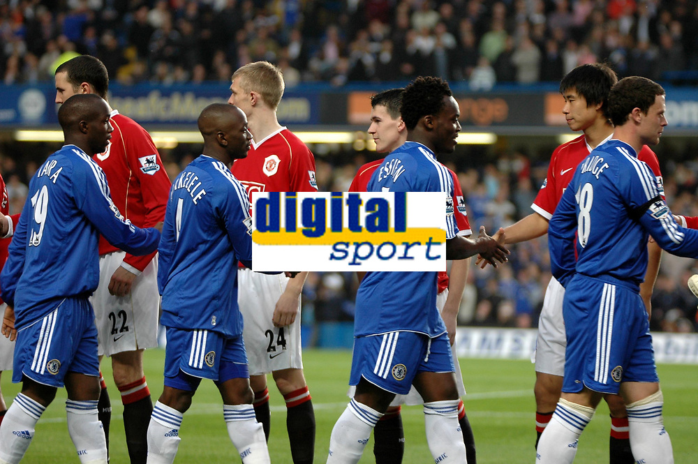 Photo: Tony Oudot.<br /> Chelsea v Manchester United. The Barclays Premiership. 09/05/2007.<br /> The teams shake hands before the game