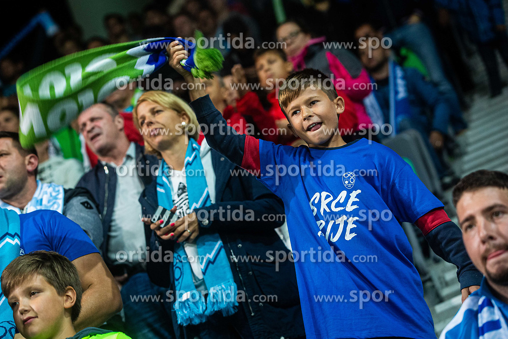 Young slovenian fan during the 2020 UEFA European Championships group G qualifying match between Slovenia and Poland at SRC Stozice on September 6, 2019 in Ljubljana, Slovenia. Photo by Grega Valancic / Sportida