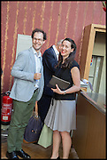 VICTORIA SIDDALL; JOSH SPERO, Drinks party to launch this year's Frieze Masters.Hosted by Charles Saumarez Smith and Victoria Siddall<br />  Academicians' room - The Keepers House. Royal Academy. Piccadilly. London. 3 July 2014