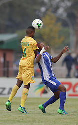 13052018 (Durban) Golden Arrows player Jabulani Shongwe fighting for a ball at a Final match of the ABSA premier league between Maritzburg United and Lamontville Golden Arrows at The Harry Gwala stadium, Yesterday.<br /> Pictcure: Motshwari Mofokeng/ANA