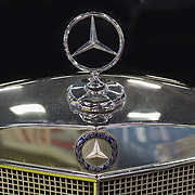 PADOVA, ITALY - OCTOBER 27:  A traditional Mercedes Benz logo is  seen on a vintage car on display on October 27, 2011 in Padova, Italy. The Vintage and Classic Cars Exhibition of Padova, running from the October 28 - 30, is the most important European trade show for vintage cars and motorbikes, showcasing over 1600 vehicles.
