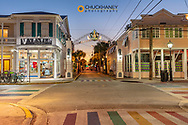 Duval Street at dusk in Key West, Florida, USA