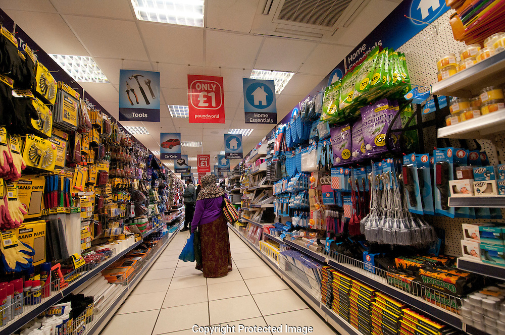 People shopping in bargain £1 pound shop