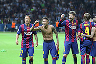 Barcelona Barcelona Adriano, Neymar  and Barcelona Gerard Piqué celebrate during the Champions League Final between Juventus FC and FC Barcelona at the Olympiastadion, Berlin, Germany on 6 June 2015. Photo by Phil Duncan.