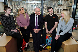 Pictured: Mr Swinney met modern apprentices Kayleigh Singer (grey jumper); Georeg McArthur (pink jumper), Holly Whitehead (black and white dress) and Jake Stefanovic, an ambassador from the Scottish Government's childcare recruitment campaign.<br /> Deputy First Minister John Swinney visited Cowgate Nursery in Edinburgh to meet children, staff and modern apprentices working in early years and childcare. Mr Swinney confirmed that a record number of early years apprenticeships are expected to start this year as part of the expansion of free nursery and childcare.  Mr Swinney toured the nursery and discussed the City of Edinburgh Council's plans to expand the early years and childcare workforce and met with modern apprentices as well as Jake Stefanovic, an ambassador from the Scottish Government's childcare recruitment campaign.<br /> <br /> <br /> Ger Harley | EEm 13 February 2018