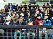 Spectators at Dulwich Hamlet FC V Margate for the last game of the season at DHFC temporary ground at Imperial Fields on 28th April 2018 in Mitcham, South London in the United Kingdom. Dulwich Hamlet was founded in 1893 and both teams play in the Isthmian League Premier Division, a regional mens football league covering London, East and South East England.