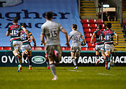 Sale Sharks centre Sam James races towards the Leicester Tigers try line to score an interception try during a Gallagher Premiership Round 7 Rugby Union match, Friday, Jan. 29, 2021, in Leicester, United Kingdom. (Steve Flynn/Image of Sport)