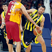 Fenerbahce Ulker's Roko Leni UKIC (R) during their Turkish Basketball league Play Off Final fourth leg match Galatasaray between Fenerbahce Ulker at the Abdi Ipekci Arena in Istanbul Turkey on Saturday 11 June 2011. Photo by TURKPIX