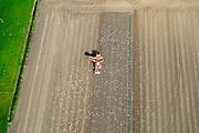 Nederland, Zeeland, Zeeuws-Vlaanderen, 19-10-2014; Nieuwland, omgeving Biervliet. Aardappeloogst<br /> Potato harvest.<br /> luchtfoto (toeslag op standard tarieven);<br /> aerial photo (additional fee required);<br /> copyright foto/photo Siebe Swart
