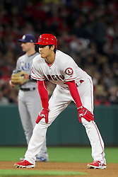 May 18, 2018 - Anaheim, CA, U.S. - ANAHEIM, CA - MAY 18: Shohei Ohtani (17) of the Angels leads off second base as he leans on his knees during the major league baseball game between the Tampa Bay Rays and the Los Angeles Angels on May 18, 2018 at Angel Stadium of Anaheim in Anaheim, California. (Photo by Cliff Welch/Icon Sportswire) (Credit Image: © Cliff Welch/Icon SMI via ZUMA Press)