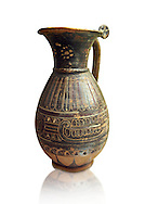 580 - 560 B.C olpai style jug made by the Etrusco-Corinthian Group of Palmette Fenicie, inv 71019,   National Archaeological Museum Florence, Italy , white background .<br /> <br /> If you prefer to buy from our ALAMY PHOTO LIBRARY  Collection visit : https://www.alamy.com/portfolio/paul-williams-funkystock - Scroll down and type - Etruscan Florence - into LOWER search box. (TIP - Refine search by adding a background colour as well).<br /> <br /> Visit our ETRUSCAN PHOTO COLLECTIONS for more photos to download or buy as wall art prints https://funkystock.photoshelter.com/gallery-collection/Pictures-Images-of-Etruscan-Historic-Sites-Art-Artefacts-Antiquities/C0000GgxRXWVMLyc