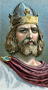 Alfred the Great (849-899) Anglo-Saxon king of Wessex from 871. Defeated Danes at Edington, Wiltshire. Signed treaty of partition and formalisation of Danelaw 886. Chromolithograph c1920