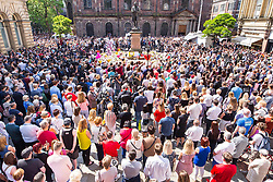 May 25, 2017 - Manchester, Greater Manchester, UK - Manchester , UK . A minute's silence is held in St Ann's Square in Manchester City Centre , following a terrorist attack at an Ariana Grande concert at Manchester Arena that killed twenty two people  (Credit Image: © Joel Goodman/London News Pictures via ZUMA Wire)