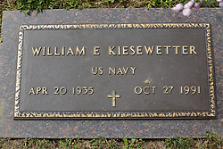 31 August 2017:   Veterans graves in Park Hill Cemetery in eastern McLean County.<br /> <br /> William E Kiesewetter  US Navy Apr 20 1936  Oct 27 1991