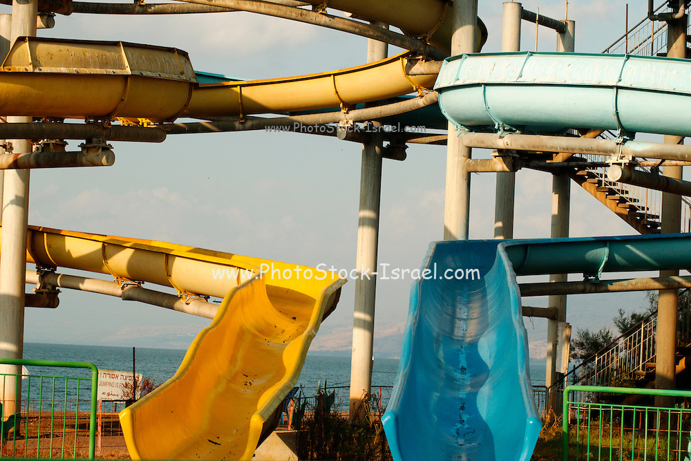 Israel, Slides in a water park at the sea of Galilee