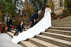 The Duke of York arrives with Princess Eugenie for her wedding to Jack Brooksbank at St George's Chapel in Windsor Castle.