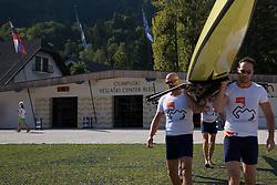 Iztok Cop, Jüri Jaanson, Vaclav Chalupa and Davor Mizerit during rowing at Slovenian National Championship and farewell of Iztok Cop, on September 22, 2012 at Lake Bled, Ljubljana Slovenia. (Photo By Matic Klansek Velej / Sportida)