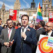 Dep Prime Misnister Nick Clegg speaks to the celebrating crowd. The Lib Dems have been great advocates of the bill. The Same Sex Marriage bill had been passed in the House of Lords. London Gay Chorus and supporters of the bill celebrate outside the House of Lords. The campaign for the bill has lasted decades. Summary of the Marriage (Same Sex Couples) Bill 2012-13 to 2013-14<br /> A Bill to make provision for the marriage of same sex couples in England and Wales, about gender change by married persons and civil partners, about consular functions in relation to marriage, for the marriage of armed forces personnel overseas, and for connected purposes.