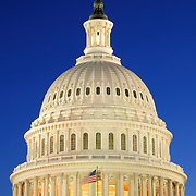 Dome of the front (east side) of the U.S. Capitol Building, Washington DC, at night