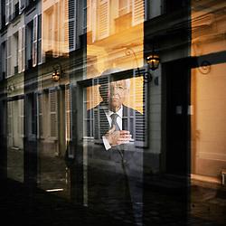 Jean-Pierre Chevenement, a French politician, posing in a courtyard. Paris, France. February 15, 2019.<br /> Jean-Pierre Chevenement, homme politique francais, posant dans une cour. Paris, France. 15 fevrier 2019.