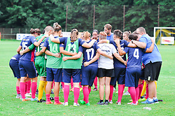 The Team of ZNK Pomurje after the UEFA Women's Champions League Qualifying Match between ZNK Teleing Pomurje (SLO) and Olimpia Cluj (ROU) at Sportni Park on August 16, 2015 in Beltinci, Slovenia. Photo by Mario Horvat / Sportida