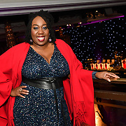 Chizzy Akudolu attend judging young professional dancers, with ticket proceeds raising money for Children in Need for the Paul Killick - Killick Royale Championships 2018 at The Grosvenor House Hotel, London, UK. 7 October 2018.