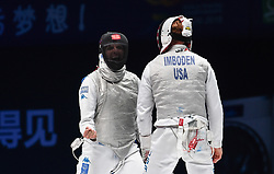 WUXI, July 27, 2018  Andrea Cassara (L) of Italy reacts during the match against Race Imboden of the US at the men's foil team final between Italy and the United States at the Fencing World Championships in Wuxi, east China's Jiangsu Province, July 27, 2018. Italy beat US 45-34 and claimed the title of the event. (Credit Image: © Li Bo/Xinhua via ZUMA Wire)