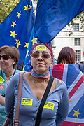 Afemale anti-Brexit campaigner outside the Cabinet Office on Whitehall on the 29th August 2019 in London in the United Kingdom. A group gather outside the Cabinet Office, protesting against British Prime Minster Boris Johnson's announcement of a suspension of Parliament.