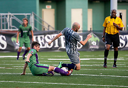 16 May 2015. New Orleans, Louisiana.<br /> National Premier Soccer League. NPSL. <br /> 1st half. The New Orleans Jesters play Nashville FC at home in the Pan American Stadium. Jesters drew 1-1 with Nashville in a game that ended in a controversial equalizer from a free kick awarded to Nashville as the minutes wound down in extra time.<br /> Photo; Charlie Varley/varleypix.com