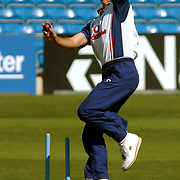 England's Andrew Caddick practices his bowling during a nets session at Hedingley.