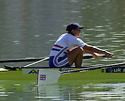 © Peter Spurrier/Sports Photo .email pictures@rowingpics.com tel +44 7973 819 551.Photo  Peter Spurrier.30/08/2003 Saturday.2003 World Rowing Championships, Idroscala. Milan, Italy.  {A Finals] GBR W2- Bow Katherine Grainger- Fina -l Union Jack on the blade...... Milan. ITALY 2003 World Rowing Championships. Idro Scala Rowing Course. [Mandatory Credit: Peter Spurrier: Intersport Images.]