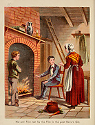 Tom Resting by the fire From the Book '  Sandford and Merton : in words of one syllable ' by Thomas Day, Mary Godolphin and Lucy Aikin, Published in New York by McLoughlin Brother's, Publishers