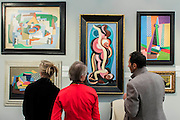 Cubist works - Frieze Masters London 2015, Regents Park, London. It covers several thousand years of art from 130 of the world's leading modern and historical galleries. The vetted artworks spanning antiquities, Asian art, ethnographic art, illuminated manuscripts, Medieval, modern and post-war, Old Masters and 19th-century, photography, sculpture and Wunderkammer are brought together in a singular space designed by Anabelle Selldorf.  The fair is open to the public 14–17 October.