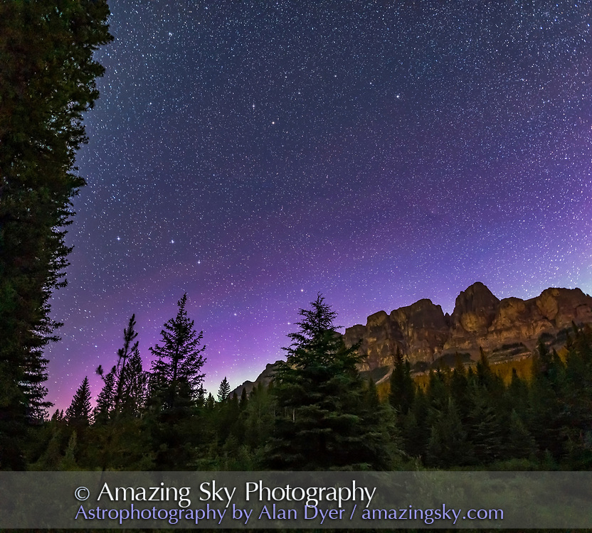 The Big and Little Dippers, and Polaris, over Castle Mountain in Banff National Park, with the scene lit by starlight. A faint aurora adds the sky colour, as does the oncoming morning twilight. <br /> <br /> This is a 3-segment vertical panorama, each 30 seconds at f/2 with the Sigma 24mm lens and Nikon D750 at ISO 3200. Stitched with Adobe Camera Raw.