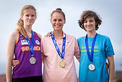 Nika Dobovšek, Jerneja Smonkar  and Veronika Sadek at medal ceremony during day 2 of Slovenian Athletics Cup 2019, on June 16, 2019 in Celje, Slovenia. Photo by Peter Kastelic / Sportida