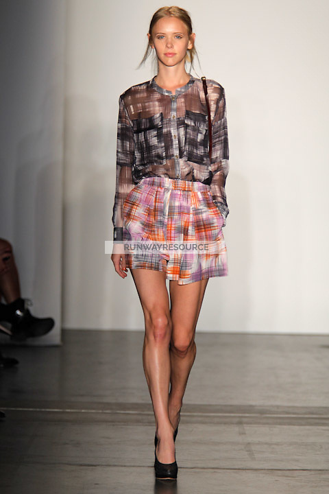 Molly Kucera walks the runway wearing Rachel Comey Spring 2011 Collection during Mercedes Benz Fashion Week in New York on September 9, 2010