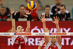 04.01.2014, Atlas Arena, Lotz, POL, FIVB, Damen WM Qualifikation, Polen vs Spanien, im Bild Izabela BELCIK (POL), Eleonora DZIEKIEWICZ (POL) // Izabela BELCIK (POL), Eleonora DZIEKIEWICZ (POL) during the ladies FIVB World Championship qualifying match between Poland and Spain at the Atlas Arena in Lotz, Poland on 2014/01/04. EXPA Pictures © 2014, PhotoCredit: EXPA/ Newspix/ Tomasz Jastrzebowski<br /> <br /> *****ATTENTION - for AUT, SLO, CRO, SRB, BIH, MAZ, TUR, SUI, SWE only*****