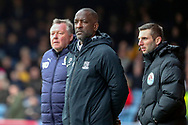 Southend United manager Chris Powell and AFC Wimbledon manager Wally Downes looking at the pitch during the EFL Sky Bet League 1 match between Southend United and AFC Wimbledon at Roots Hall, Southend, England on 16 March 2019.
