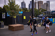 Serena Williams of the U.S. leaves a practice session with her coach Patrick Mouratoglou during the 2021 Australian Open at Melbourne Park in Melbourne, Australia.