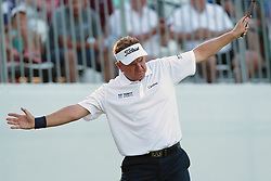 September 16, 2018 - Grand Blanc, Michigan, United States - Paul Broadhurst of England reacts aftre his birdie on the 18th green during the final round of The Ally Challenge presented by McLaren at Warwick Hills Golf & Country Club in Grand Blanc, MI, USA Sunday, September 16, 2018. (Credit Image: © Jorge Lemus/NurPhoto/ZUMA Press)
