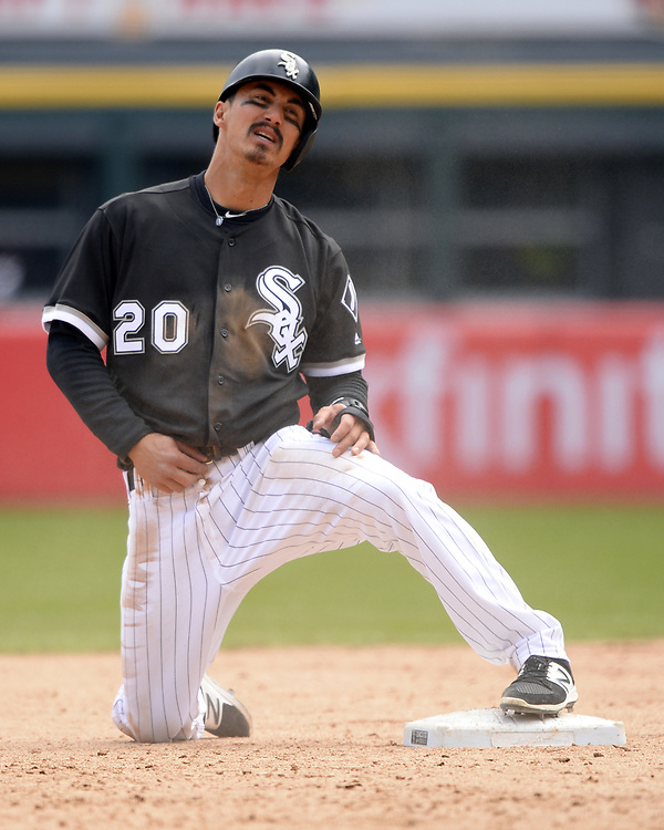 CHICAGO - APRIL 06:  Tyler Saladino #20 of the Chicago White Sox reacts after being called out at second base against the Detroit Tigers on April 6, 2017 at Guaranteed Rate Field in Chicago, Illinois.  The White Sox defeated the Tigers 11-2.  (Photo by Ron Vesely)   Subject:  Tyler Saladino