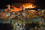 Costa Rei, Sardinia, Italy, June 2015. Roasted suckling pig over the fire. Costa Rei is located on the south coast of Sardinia about 50km from Cagliari. The coastline is renowned for its crystal clear water, golden sands and long beaches. Photo by Frits Meyst / MeystPhoto.com